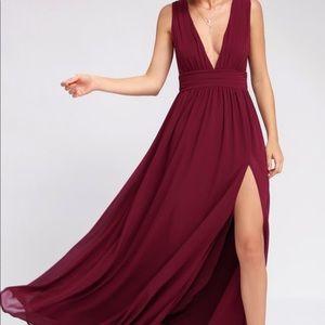 Lulu's Heavenly Hues Burgandy Maxi Dress